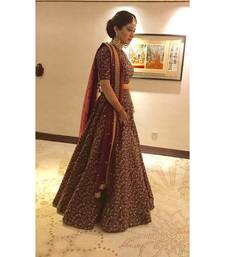 Buy Sparkling Maroon Colored Designer Heavy Embroidered Raw Silk Designer Lehenga Choli Dupatta Set bollywood-lehenga online
