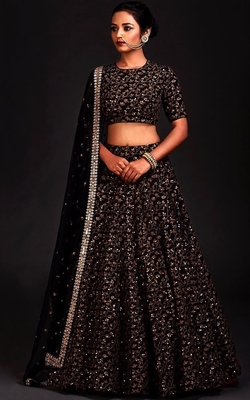 Sparkling Black Colored Designer Heavy Embroidered Raw Silk Designer Lehenga Choli Dupatta Set