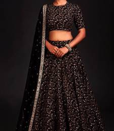 Sparkling Black Colored Designer Heavy Embroidered Raw Silk Designer Lehenga Choli Dupatta Set