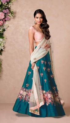 Turquoise Embroidered Art Silk Semi Stitched Lehenga