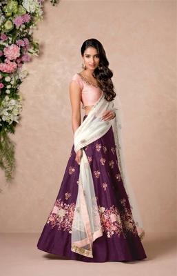 Perfect Purple Colored Floral Embroidered Banglori Silk Bollywood Lehenga Choli Dupatta Set