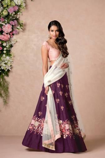 a892eadb3a Perfect Purple Colored Floral Embroidered Banglori Silk Bollywood Lehenga  Choli Dupatta Set
