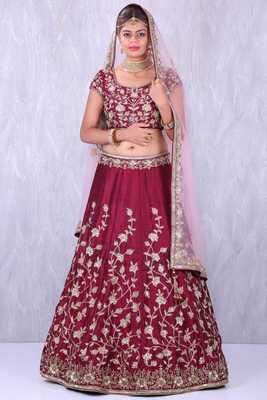 Graceful Maroon Colored Designer Embroidered Silk Wedding Lehenga Choli Dupatta Set