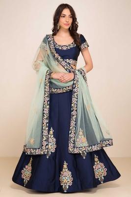 Gorgeous Blue Colored Designer Embroidered Silk Lehenga Choli Dupatta Set