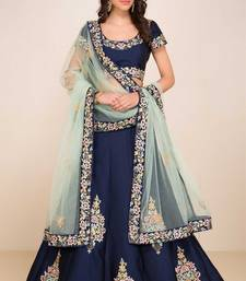 Buy Blue embroidered art silk unstitched lehenga party-lehenga online