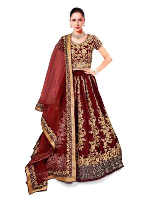 Maroon Embroidered Dupion Silk Semi Stitched Lehenga