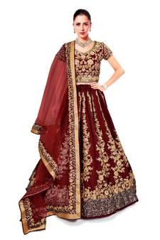 c81f73fcffc6b Impressive Maroon Colored Designer Partywear Raw Silk Wedding Lehenga Choli  Dupatta Set