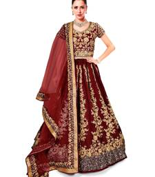 Buy Impressive Maroon Colored Designer Partywear Raw Silk Wedding Lehenga Choli Dupatta Set lehenga-choli online