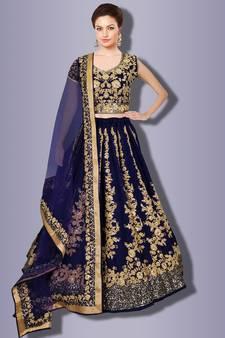 72c1df8527 Impressive Navy Blue Colored Designer Partywear Raw Silk Wedding Lehenga  Choli Dupatta Set