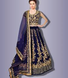 Impressive Navy Blue Colored Designer Partywear Raw Silk Wedding Lehenga Choli Dupatta Set