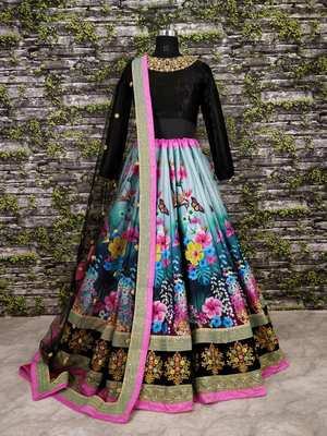 510dcbc1d0 Beautiful Black Colored Partywear Designer Embroidered Art Silk Lehenga  Choli Dupatta Set - Tulsi Art - 2677708