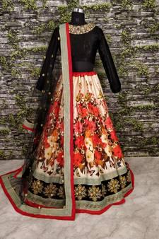f9b5c95d2d Beautiful Multicolored Party-wear Designer Embroidered Art Silk Lehenga  Choli Dupatta Set