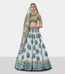 Charming Blue Embroidered And Digital Print Art Silk Wedding Designer Lehenga Choli Set