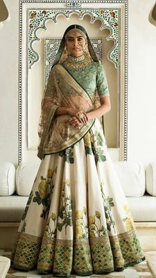 YELLOW ROSE FLORAL EMBROIDERED DIGITALLY PAINTED ART SILK WEDDING LEHENGA CHOLI WITH DUPATTA