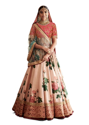 LIGHT-RANI-PINK ROSE FLORAL EMBROIDERED DIGITALLY PAINTED ART SILK WEDDING LEHENGA CHOLI WITH DUPATTA