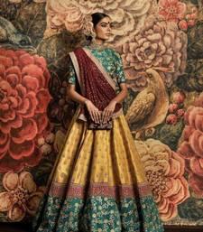 Yellow and Teal Green embroidered Wedding Art silk semi stitched lehenga choli with dupatta