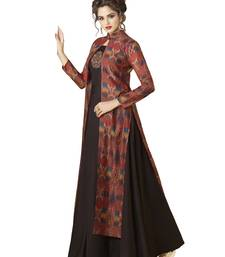 Black embroidered Rayon semi stitched Gown