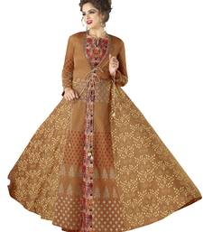 Brown Embroidered Rayon Semi Stitched Gown