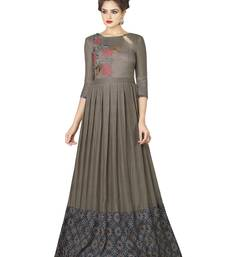 Grey Embroidered Rayon Semi Stitched Gown
