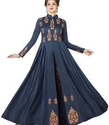 Blue Embroidered Rayon Semi Stitched Gown