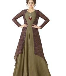 Olive Embroidered Rayon Semi Stitched Gown