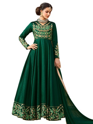 Green Embroidered Silk Salwar With Dupatta