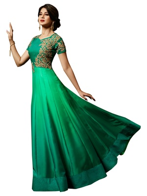 Sea-Green Embroidered Silk Salwar With Dupatta