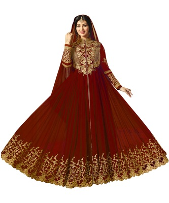 Red Embroidered Faux Georgette Salwar With Dupatta