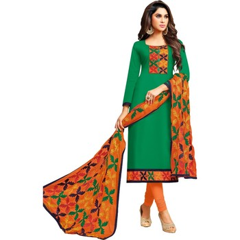 Green phulkari cotton salwar
