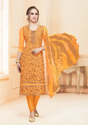 Mustard embroidered cotton salwar with dupatta