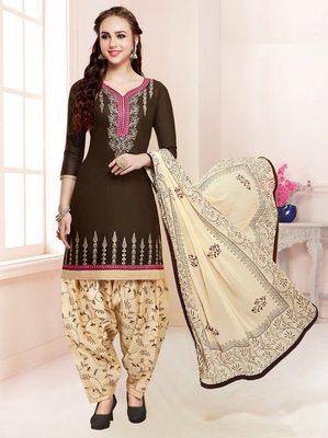 Brown embroidered pure cotton salwar with dupatta
