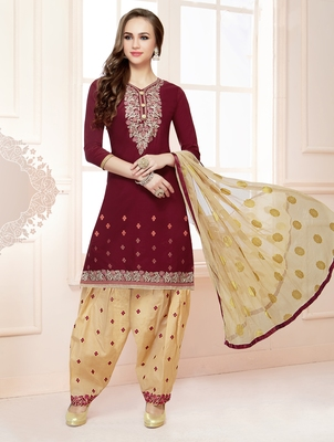 Maroon embroidered pure cotton salwar with dupatta
