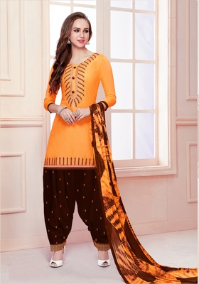 Mustard embroidered pure cotton salwar with dupatta