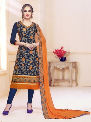 Navy-blue embroidered cotton salwar with dupatta