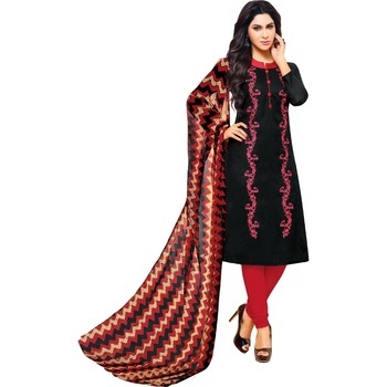 Black & Red Jacquard Cotton Printed & Embroidered Salwar Suit For Women