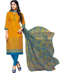 Mustard & Sky Blue Jacquard Cotton Printed & Embroidered Salwar Suit For Women