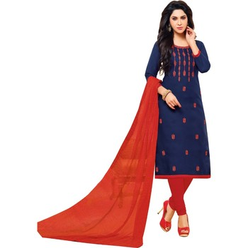 Navy Blue & Red Jacquard Cotton Printed & Embroidered Salwar Suit For Women