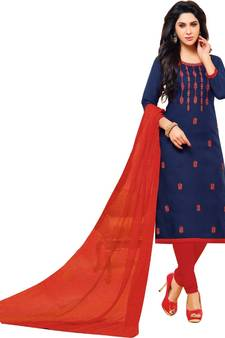 13cb7f2ba7aa Buy Navy Blue & Red Jacquard Cotton Printed & Embroidered Salwar Suit For  Women dress-