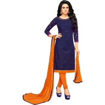 Blue & Orange Cotton Embroidered & Mirror Work Salwar Suit For Women