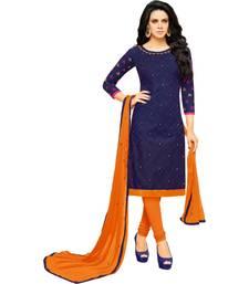 Blue & Orange Cotton Embroidered & Mirror Work Salwar Suit For Women