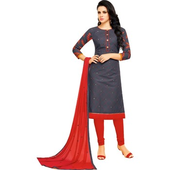 Gray & Red Cotton Embroidered & Mirror Work Salwar Suit For Women