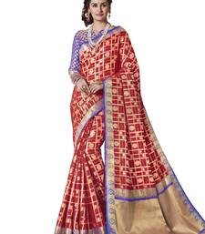 Red woven patola art silk saree with blouse
