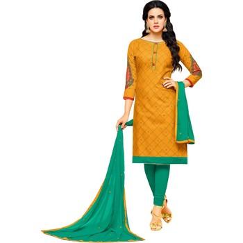 Mustard & Sea Green Cotton Embroidered & Mirror Work Salwar Suit For Women
