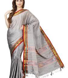 Grey plain cotton saree with blouse