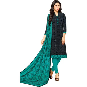 Black & Rama Green Cotton Embroidered & Mirror Work Salwar Suit For Women