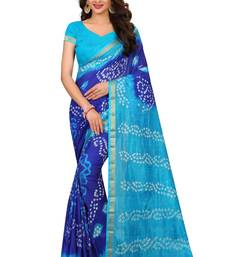 Buy Blue Printed Faux Silk Saree With Blouse women-ethnic-wear online