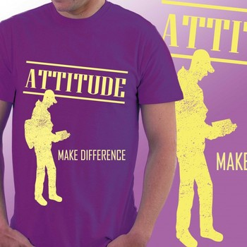 Attitude Makes Difference Slogan T-shirt for Men