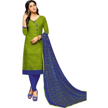 Parrot Green & Blue Cotton Embroidered & Mirror Work Salwar Suit For Women