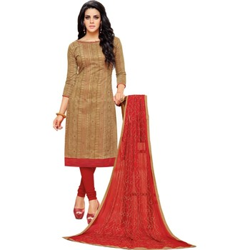 Light Brown & Red Chanderi Cotton Embroidered & Mirror Work Salwar Suit For Women