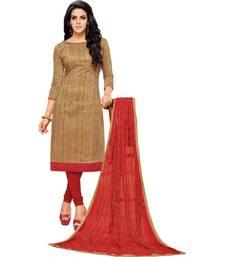 Light Brown & Red Chanderi Cotton Embroidered & Mirror Work Salwar Suit For Women